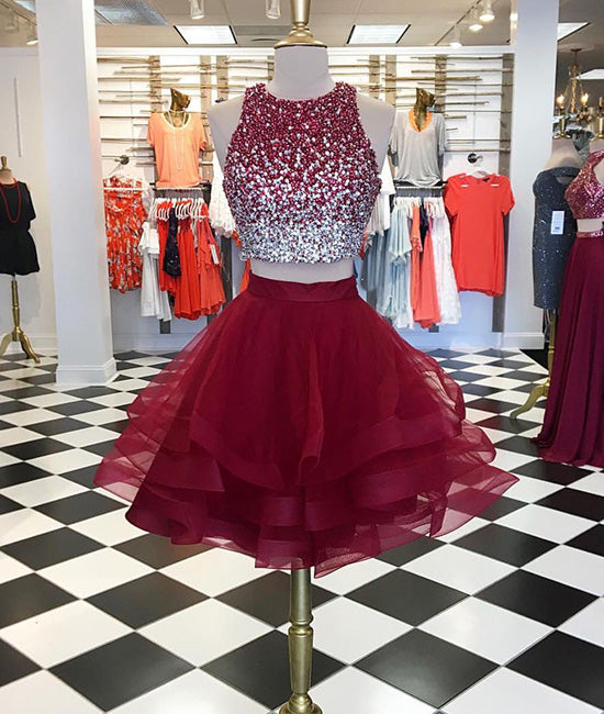Burgundy two pieces sequin tulle short prom dress, homecoming dress
