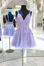 Purple v neck tulle lace short prom dress lace cocktail dress