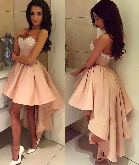 Cute pink high low prom dress, pink evening dress - shdress