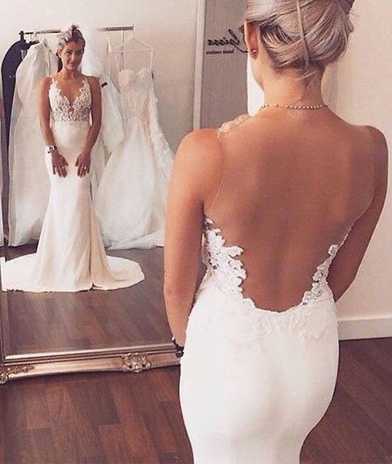 White lace mermaid long prom dress, white lace evening dress