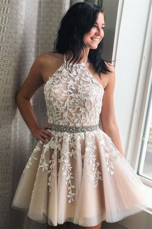 Champagne tulle lace short prom dress tulle lace cocktail dress