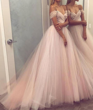 Simple sweetheart tulle champagne long prom dress, evening dress - shdress