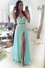 Simple green chiffon long prom dress green evening dress