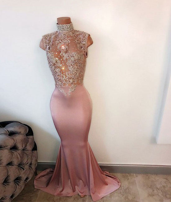 Unique hight neck sequin long prom dress, mermaid evening dress