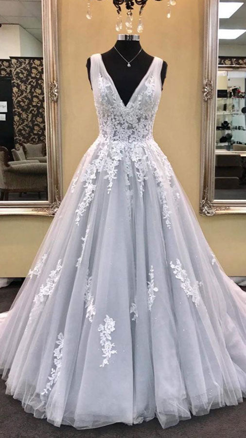 Gray v neck tulle lace applique long prom dress, gray evening dress - shdress