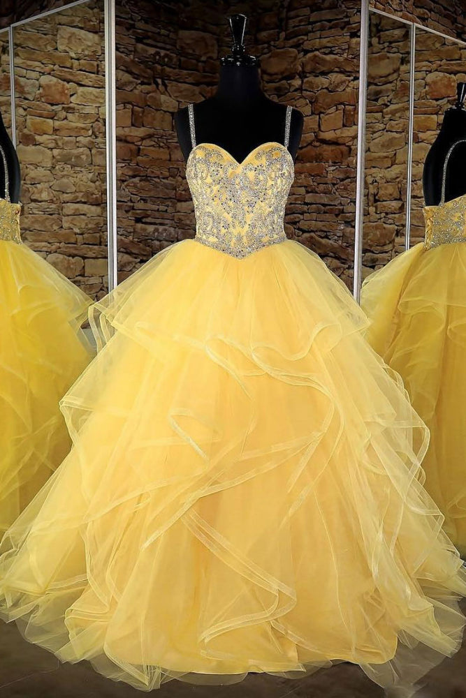 Yellow sweetheart tulle sequin long prom dress, yellow evening dress