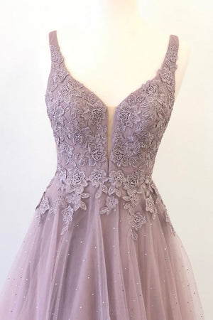 Unique v neck tulle lace long prom dress, tulle evening dress