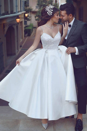 Simple sweetheart white tea length white wedding dress