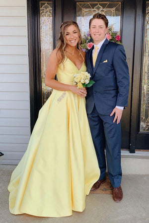 Yellow sweetheart backless long prom dress, yellow evening dress