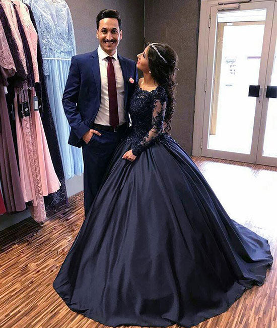 Dark blue round neck lace long prom dress, blue evening dress - shdress