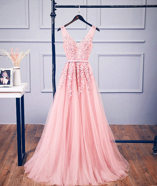33e0eff9cb49 Pink v neck tulle lace applique long prom dress, pink bridesmaid dress
