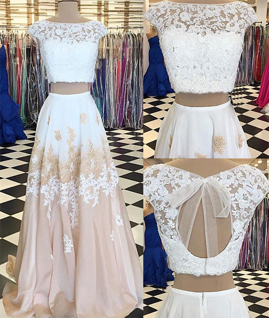 White two pieces lace long prom dress, white evening dress