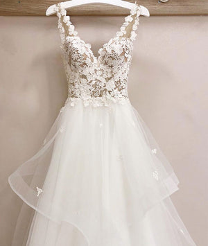 White v neck tulle lace long prom dress, white v neck evening dress