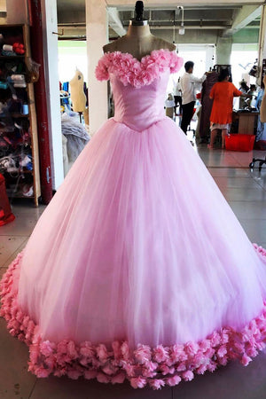Pink tulle 3d flower tulle long prom gown, pink tulle evening dress