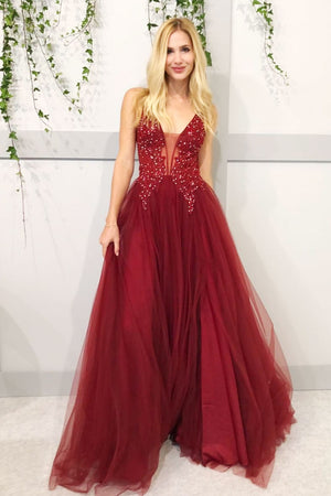 Burgundy v neck lace tulle long prom dress, burgundy evening dress