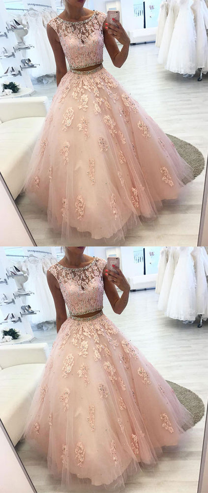Pink two pieces lace tulle long prom dress, pink evening dress - shdress