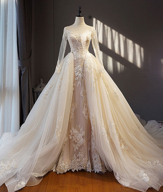 Unique champagne tulle lace long prom dress, champagne wedding dress - shdress