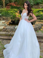 White v neck sequin tulle long prom dress white tulle formal dress
