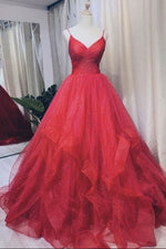 Burgundy v neck tulle long prom dress tulle formal dress