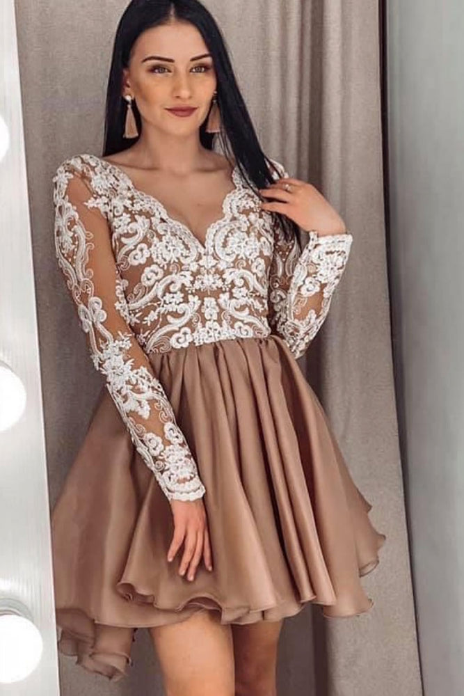 Champagne v neck lace short prom dress lace bridesmaid dress