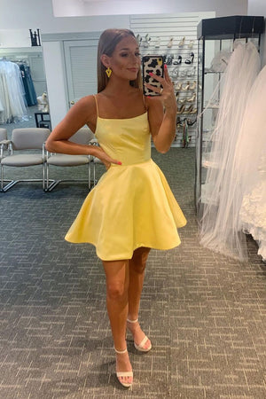 Simple yellow satin short prom dress yellow homecoming dress
