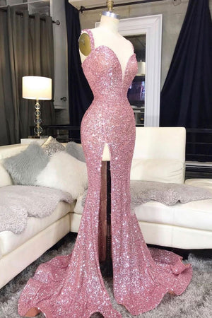 Pink sweetheart sequin mermaid long prom dress pink evening dress