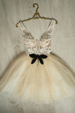 Champagne tulle beads lace short prom dress champagne homecoming dress