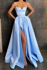 Simple blue sweetheart satin long prom dress blue evening dress