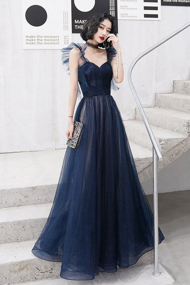 Dark blue sweetheart tulle long prom dress blue tulle formal dress