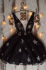 Black v neck tulle short prom dress black homecoming dress