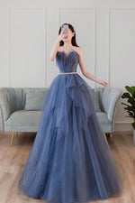 Blue sweetheart neck tulle long prom dress blue tulle formal dress