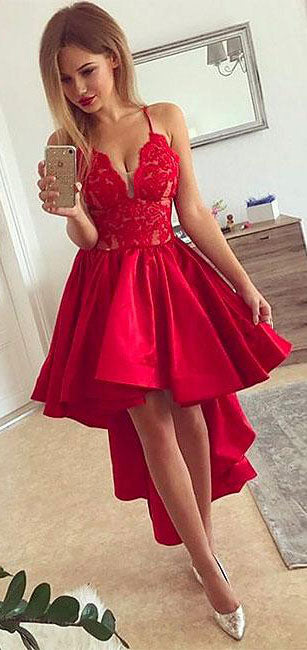 Red v neck high low prom dress, red homecoming dress