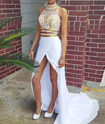 White A-line Two Pieces Rhinestone Long Prom Dress, White Evening Dress