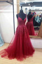 Burgundy sweetheart tulle lace long prom dress formal dress