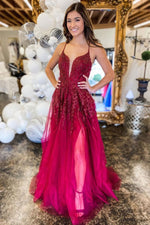 Burgundy v neck tulle lace long prom dress burgundy evening dress