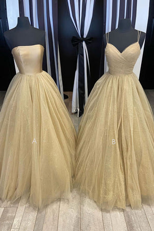 Champagne tulle long prom dress tulle long formal dress