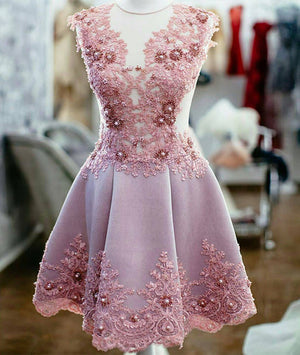 Cute pink lace short prom dress, homecoming dress - shdress