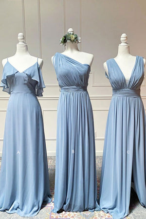 Simple blue chiffon long prom dress blue chiffon bridesmaid dress