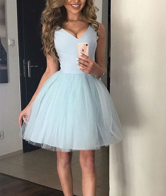 Simple v neck tulle blue short prom dress, blue homecoming dress