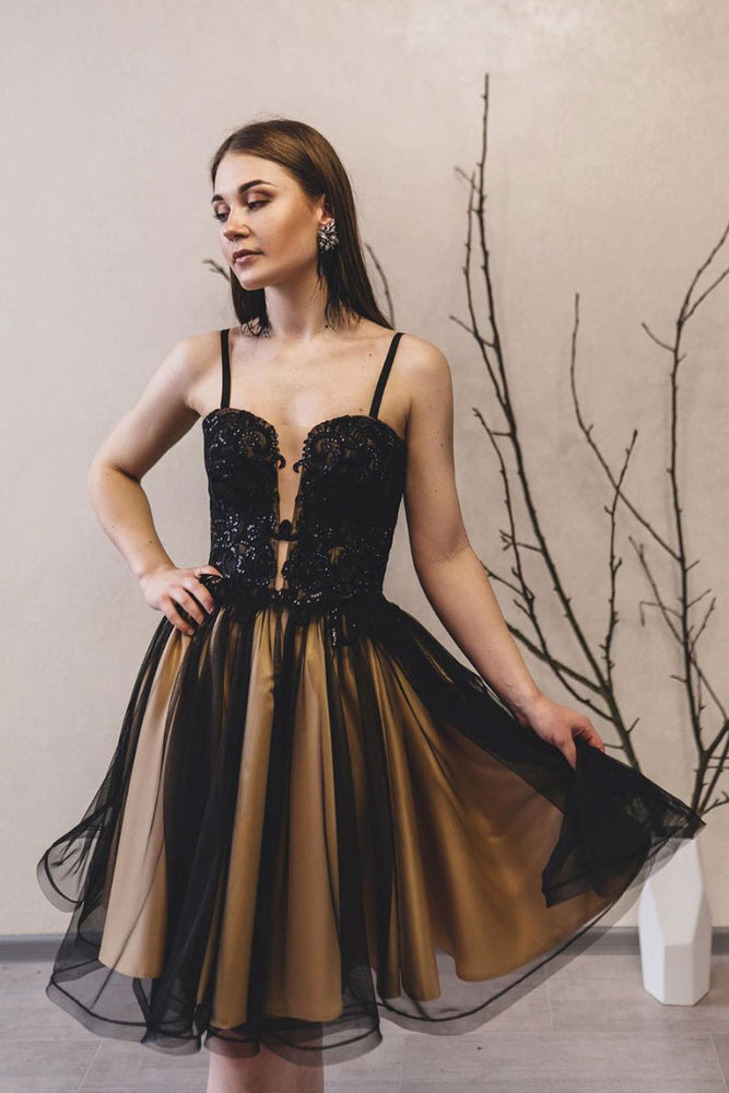 Black lace tulle short prom dress black homecoming dress