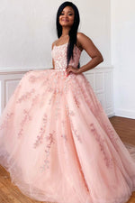 Pink tulle lace long prom dress pink lace formal dress