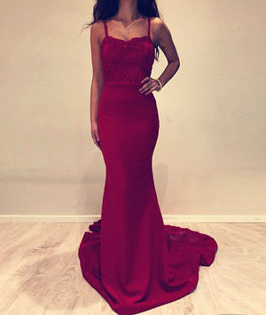 Burgundy lace satin long prom dress, burgundy evening dress - shdress