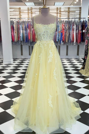 Yellow tulle lace long prom dress yellow lace formal dress