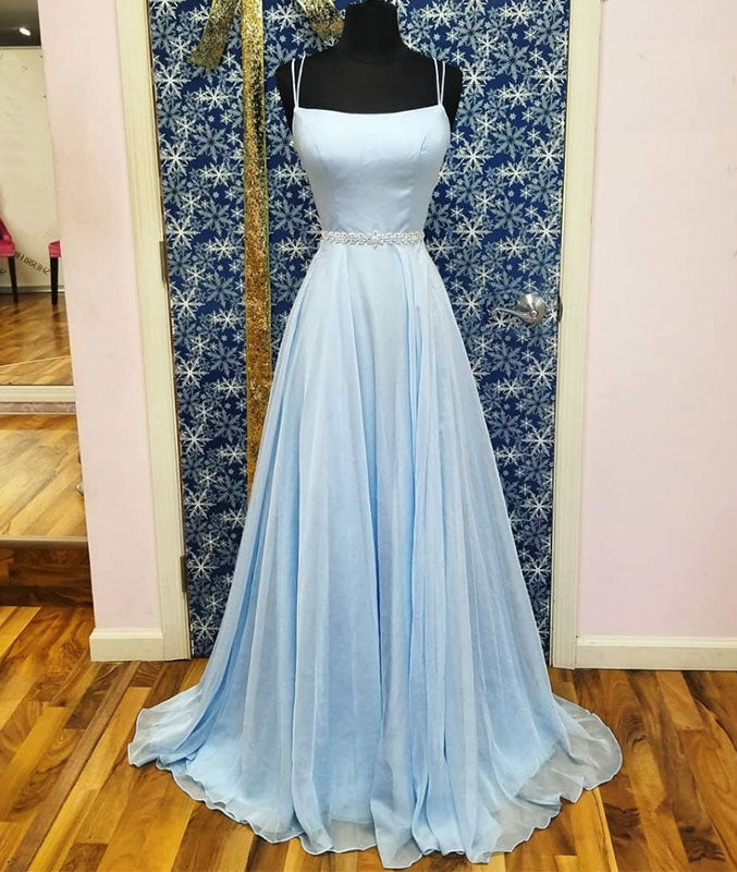 Simple satin blue long prom dress, blue evening dress