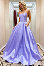 Simple satin long prom dress purple formal dress