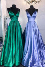 Simple v neck satin long prom dress satin evening dress