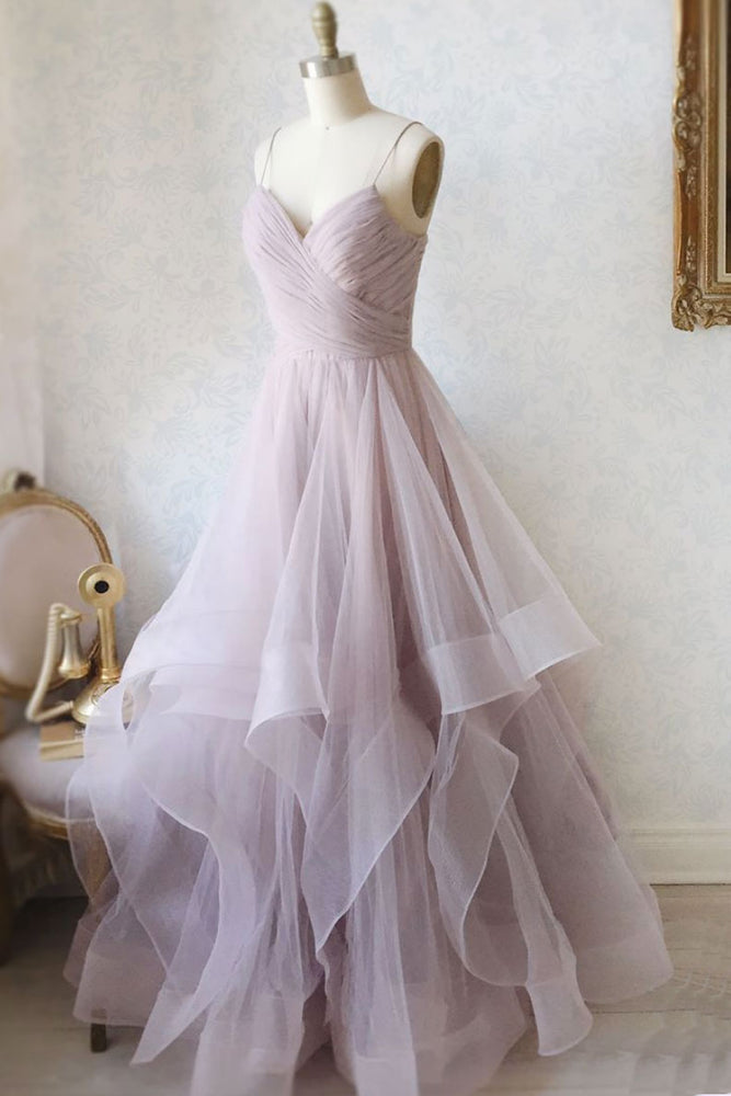Simple sweetheart neck tulle long prom dress formal dress