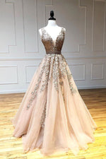 Champagne v neck tulle lace beads long prom dress tulle formal dress