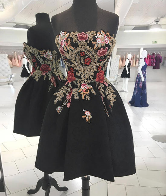 Black lace applique short prom dress, black homecoming dress