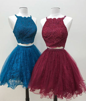 Cute two pieces lace tulle beads short prom dress, lace homecoming dress - shdress